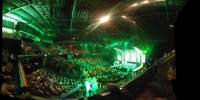 Microsoft holds its conference at the Galen Center.  This year's conference played more to the traditional hard-core gamer than last year's festival of family fare.  Explosions, violence and mayhem were front-and-center, as was connectivity and the expansion of Xbox as the center of living room entertainment, not just a game device.